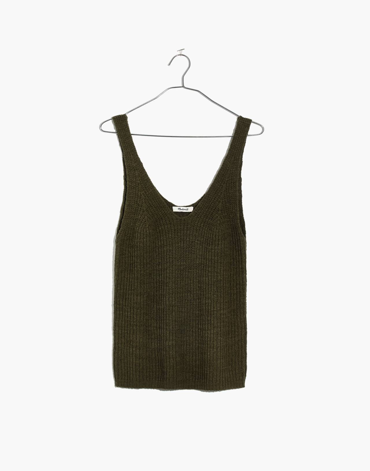 Monterey Sweater Tank in dark olive image 4