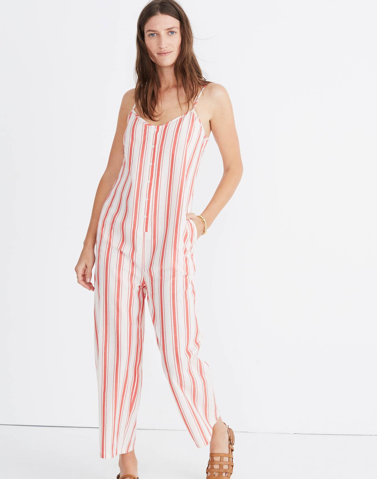 Striped Cami Jumpsuit in muslin image 1