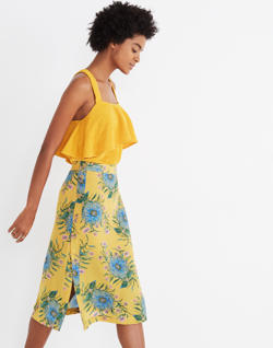 Silk Side-Button Skirt in Painted Blooms
