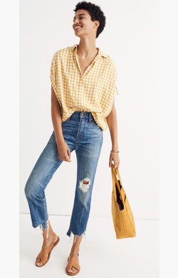 Central Ruched-Sleeve Shirt in Gingham Check