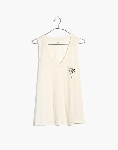 Embroidered Palm Whisper Cotton V-Neck Pocket Tank in vintage lace image 4
