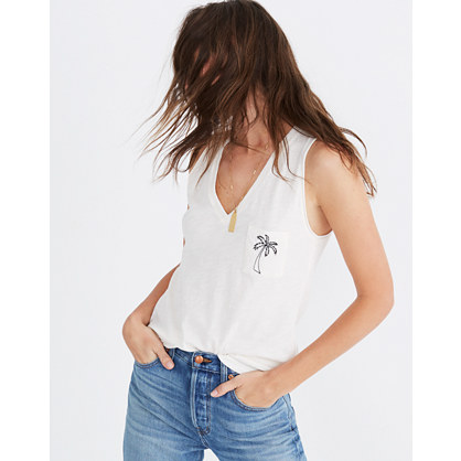 Embroidered Palm Whisper Cotton V Neck Pocket Tank by Madewell