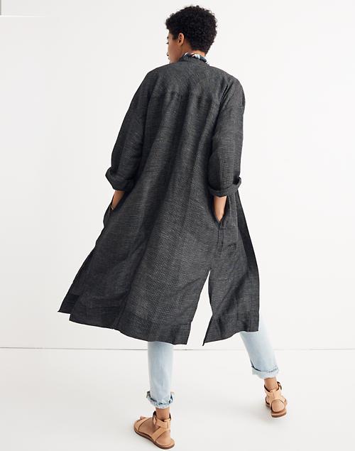 Women S Long Robe Jacket In Grid Pattern Sale Madewell