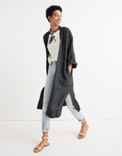Long Robe Jacket in Grid Pattern
