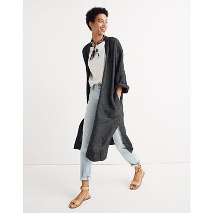 Long Robe Jacket in Grid Pattern