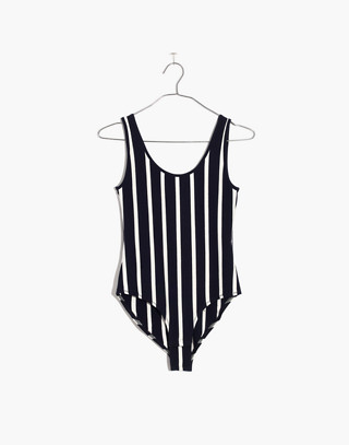 Scoopback Bodysuit in Rikki Stripe in deep indigo image 4