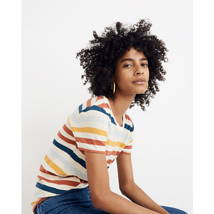 Lo Fi Shrunken Tee In Jay Stripe by Madewell