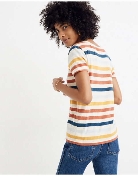 Lo-Fi Shrunken Tee in Jay Stripe in antique cream image 3