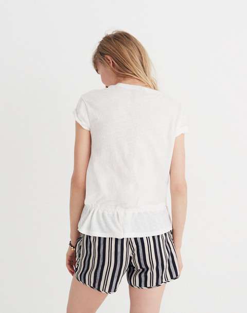 Drawstring Tee in bright ivory image 3