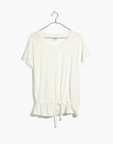 Drawstring Tee in bright ivory image 4