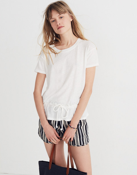 Drawstring Tee in bright ivory image 1