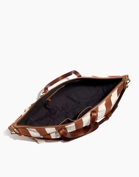 The Transport Weekender in Striped Canvas in burnt orange stripe image 2