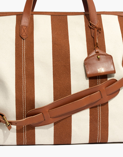 The Transport Weekender in Striped Canvas in burnt orange stripe image 3