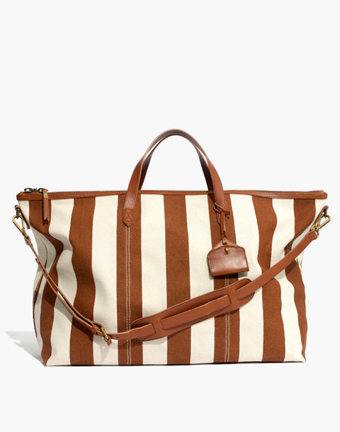 The Transport Weekender in Striped Canvas in burnt orange stripe image 1