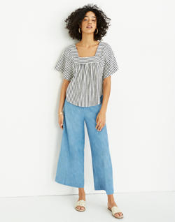 Chambray Huston Pull-On Crop Pants