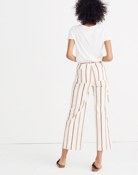 Emmett Wide-Leg Crop Pants in Antique Coral Stripe