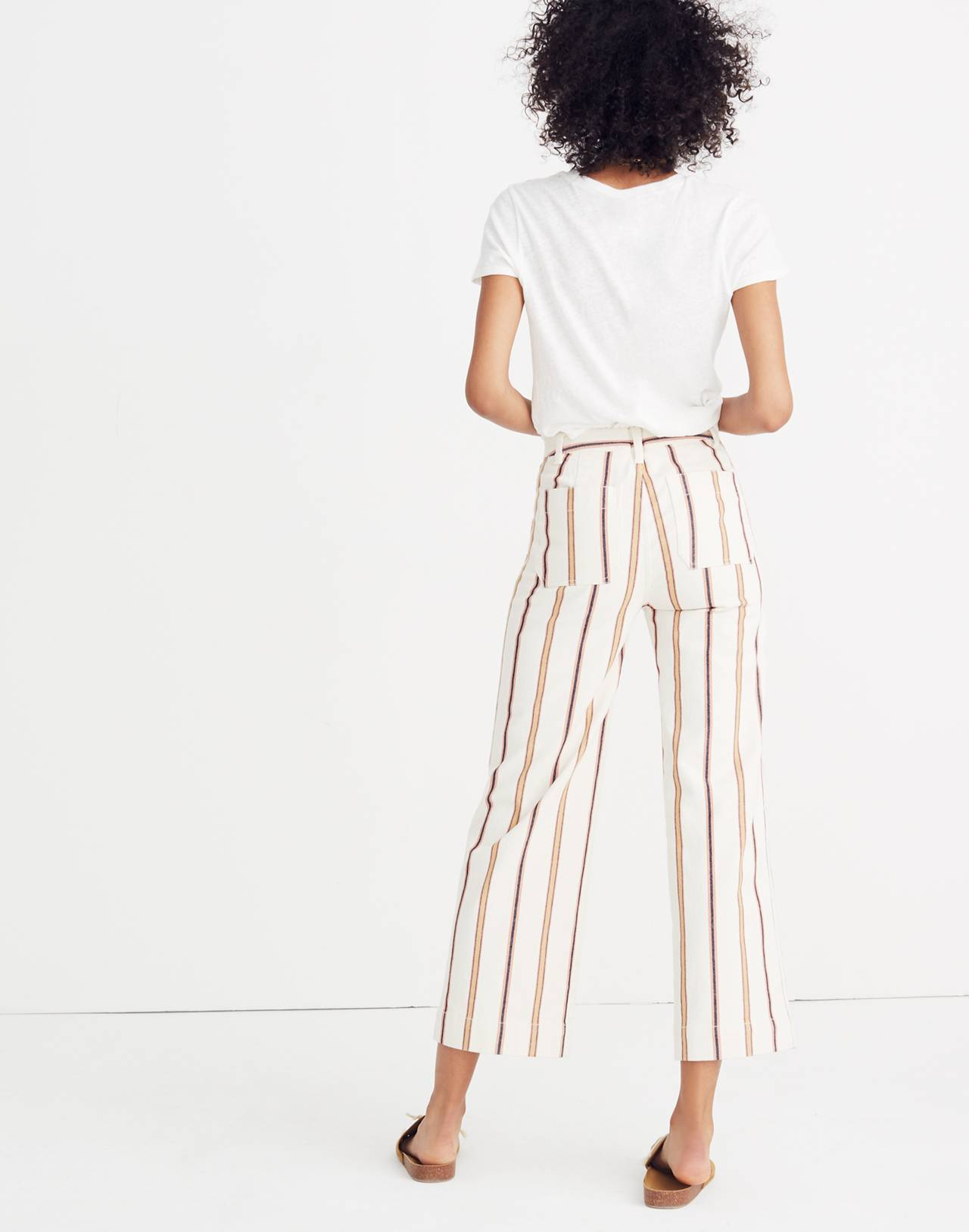 Tall Emmett Wide-Leg Crop Pants in Antique Coral Stripe in antique coral image 3