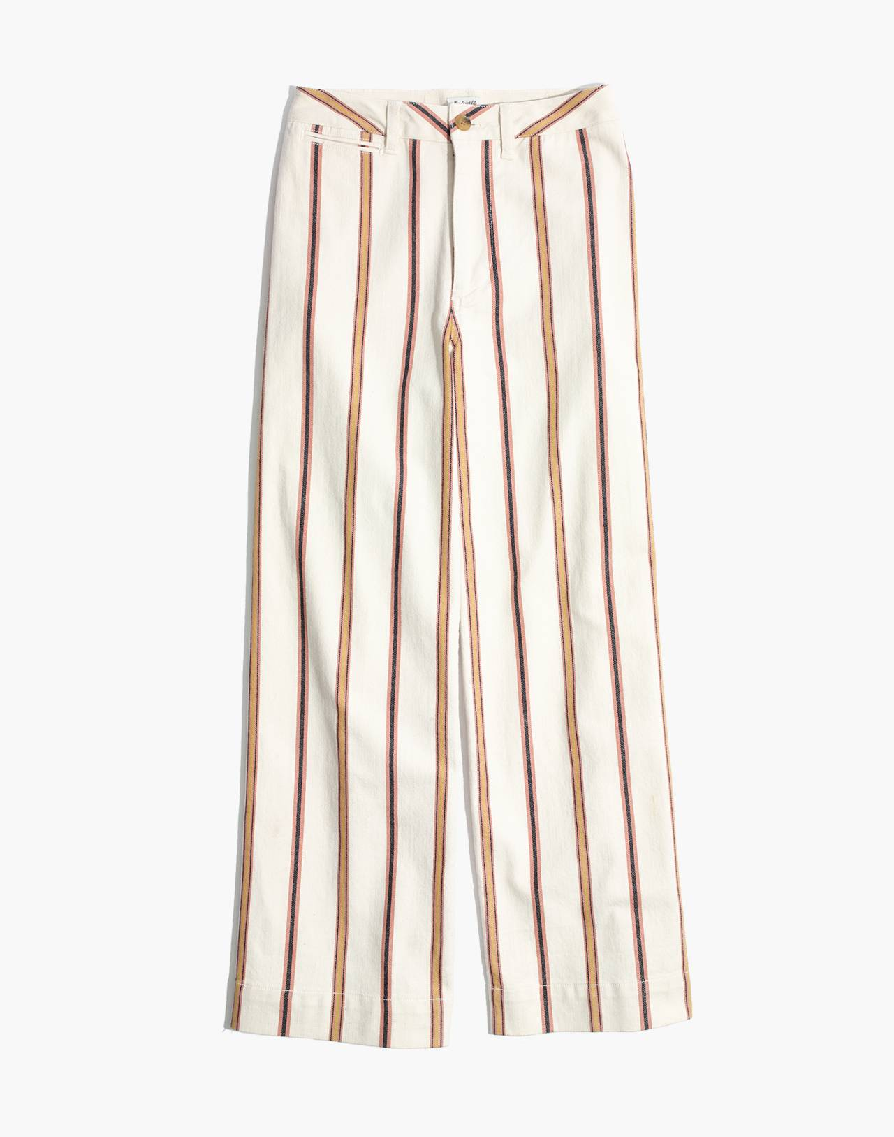 Tall Emmett Wide-Leg Crop Pants in Antique Coral Stripe in antique coral image 4