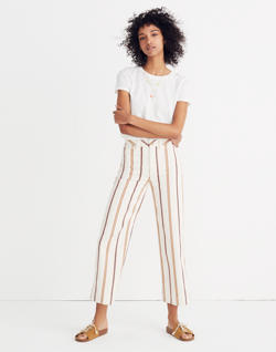 Tall Emmett Wide-Leg Crop Pants in Antique Coral Stripe
