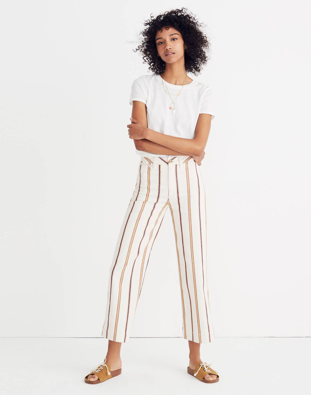 Tall Emmett Wide-Leg Crop Pants in Antique Coral Stripe in antique coral image 1