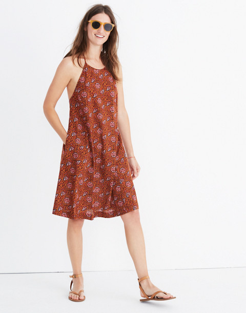 Halter Cover-Up Dress in Warm Paisley