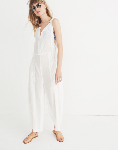 Esperanza Cover-Up Jumpsuit in eyelet white image 2