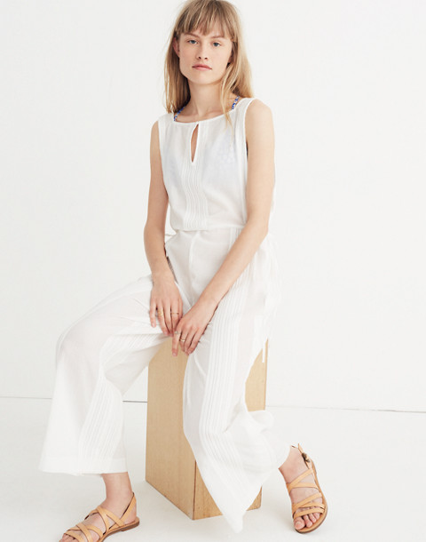 Esperanza Cover-Up Jumpsuit in eyelet white image 1
