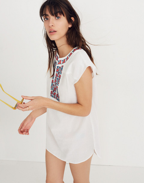 Embroidered Belize Cover-Up Tunic Dress