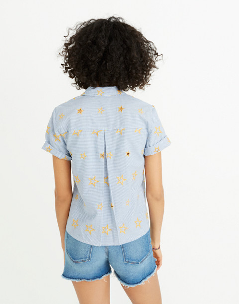 Star Embroidered Striped Shirt in tulum blue image 2