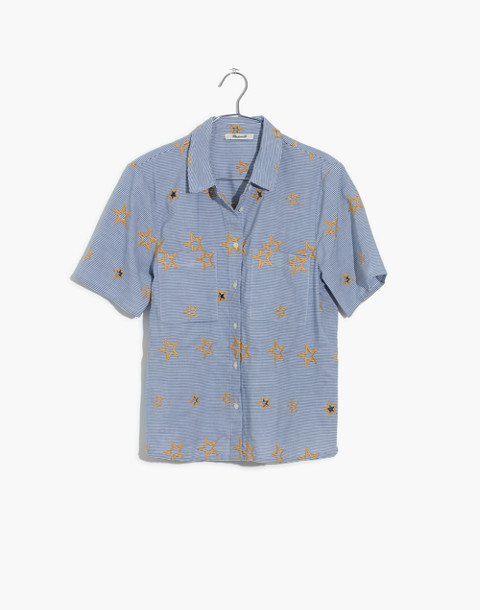 Star Embroidered Striped Shirt in tulum blue image 4
