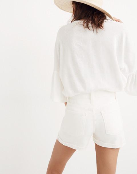 High-Rise Denim Shorts in Tile White in tile white image 2