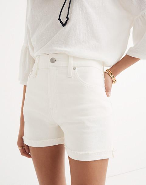 High-Rise Denim Shorts in Tile White in tile white image 3
