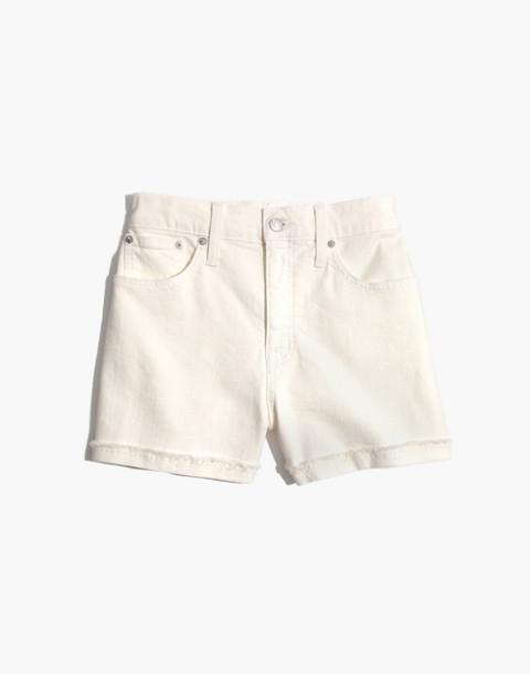 High-Rise Denim Shorts in Tile White in tile white image 4