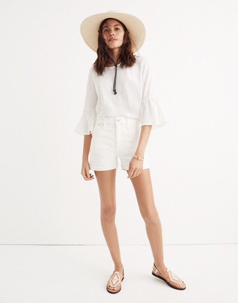 High-Rise Denim Shorts in Tile White in tile white image 1