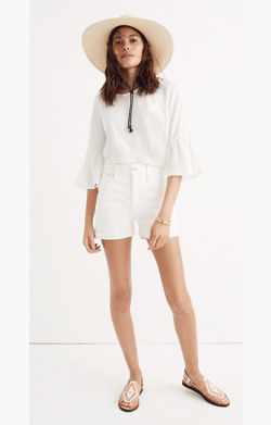 High-Rise Denim Shorts in Tile White