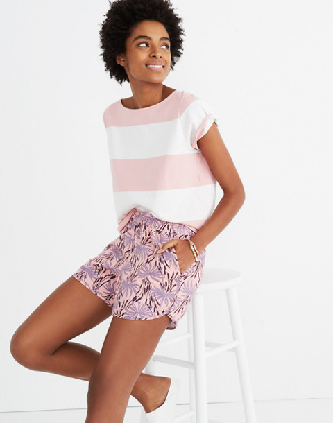 Pull-On Shorts in Oasis Palms in ikat peach blush image 2