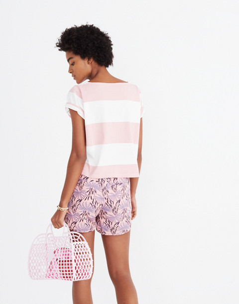 Pull-On Shorts in Oasis Palms in ikat peach blush image 3