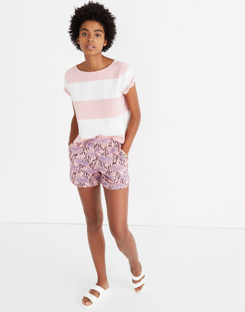 Pull-On Shorts in Oasis Palms in ikat peach blush image 1