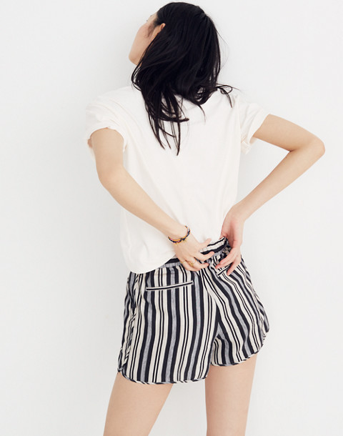 Pull-On Shorts in Evelyn Stripe in stone image 3