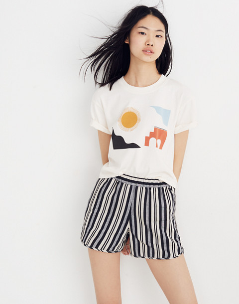 Pull-On Shorts in Evelyn Stripe in stone image 1