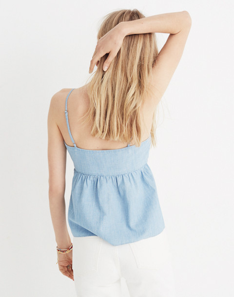 Chambray Tie-Front Keyhole Cami Top in corrina wash image 3