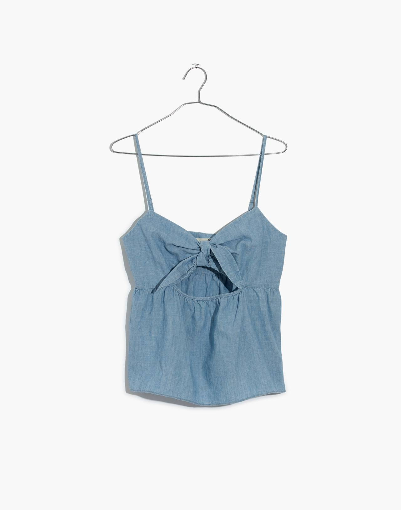 Chambray Tie-Front Keyhole Cami Top in corrina wash image 4