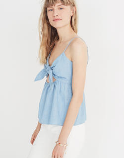Chambray Tie-Front Keyhole Cami Top