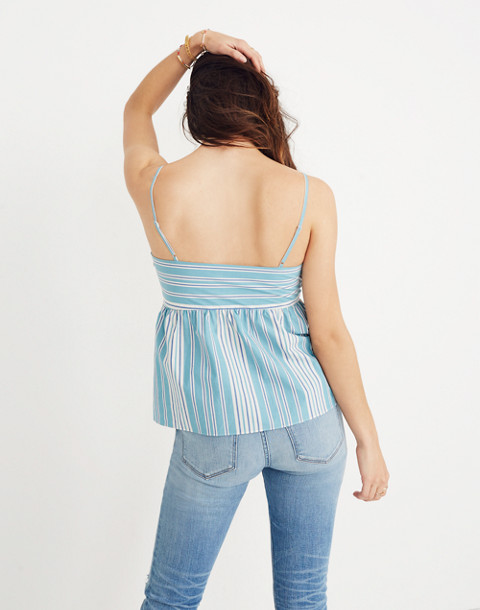 Striped Tie-Front Keyhole Cami Top in white wash image 3