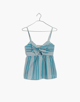 Striped Tie-Front Keyhole Cami Top