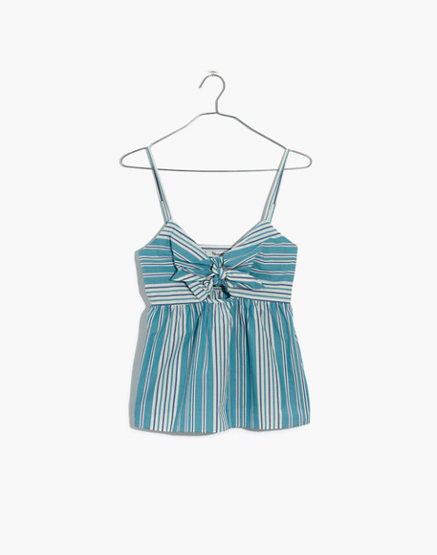Striped Tie-Front Keyhole Cami Top in white wash image 4