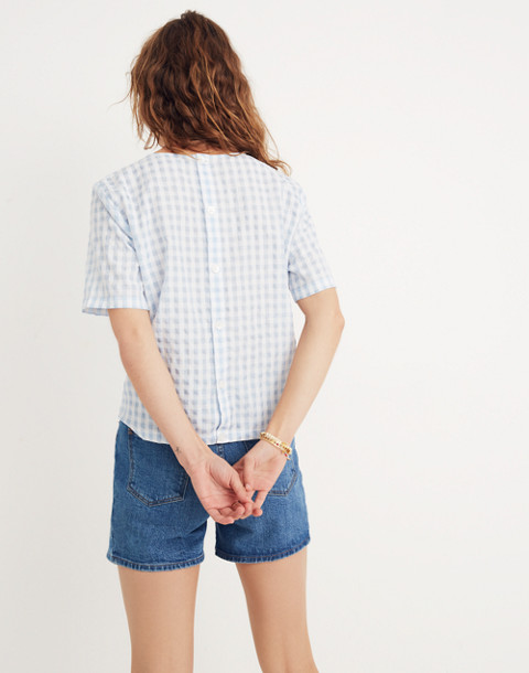 Button-Back Tie Tee in Gingham Check