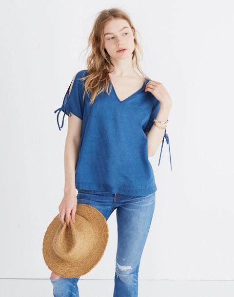 Indigo Tie-Sleeve Top