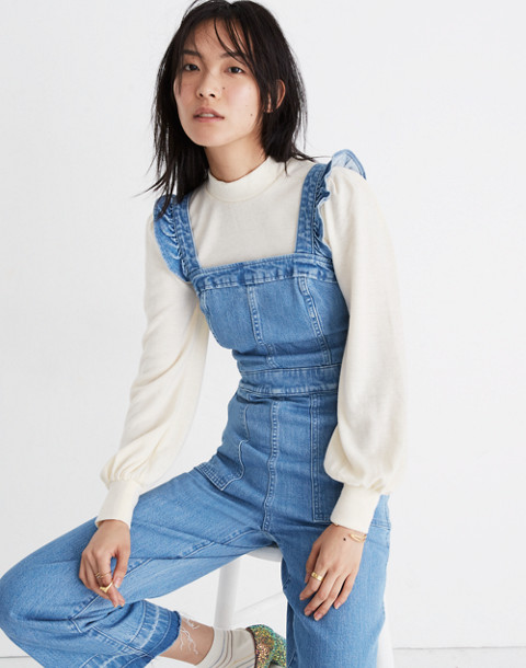 Denim Ruffle-Strap Jumpsuit in levita wash image 2