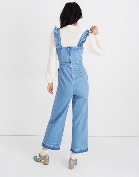 Denim Ruffle-Strap Jumpsuit in levita wash image 3